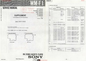 Sony WM-F1 SUPPLEMENT Free service manual pdf Download