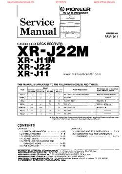 Pioneer XR-J22M XR-J11M XR-J22 XR-J11 Free service manual