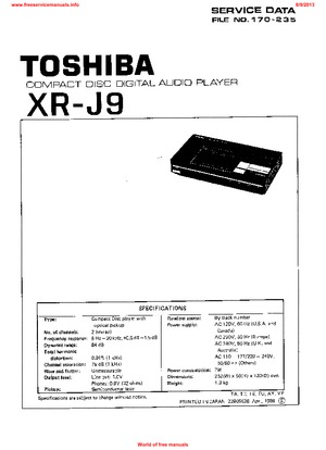 Toshiba XR-J9 Free service manual pdf Download