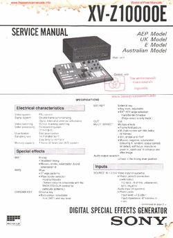 Sony XV-Z10000E Free service manual pdf Download