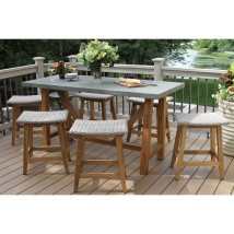 Outdoor Interiors 7 Piece Teak & Wicker Counter Height