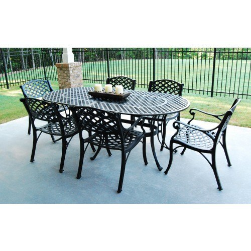 three coins cast crossweave cast aluminum patio table and chair set