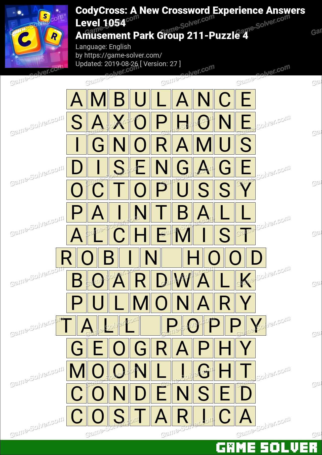 CodyCross Amusement Park Group 211-Puzzle 4 Answers - Game