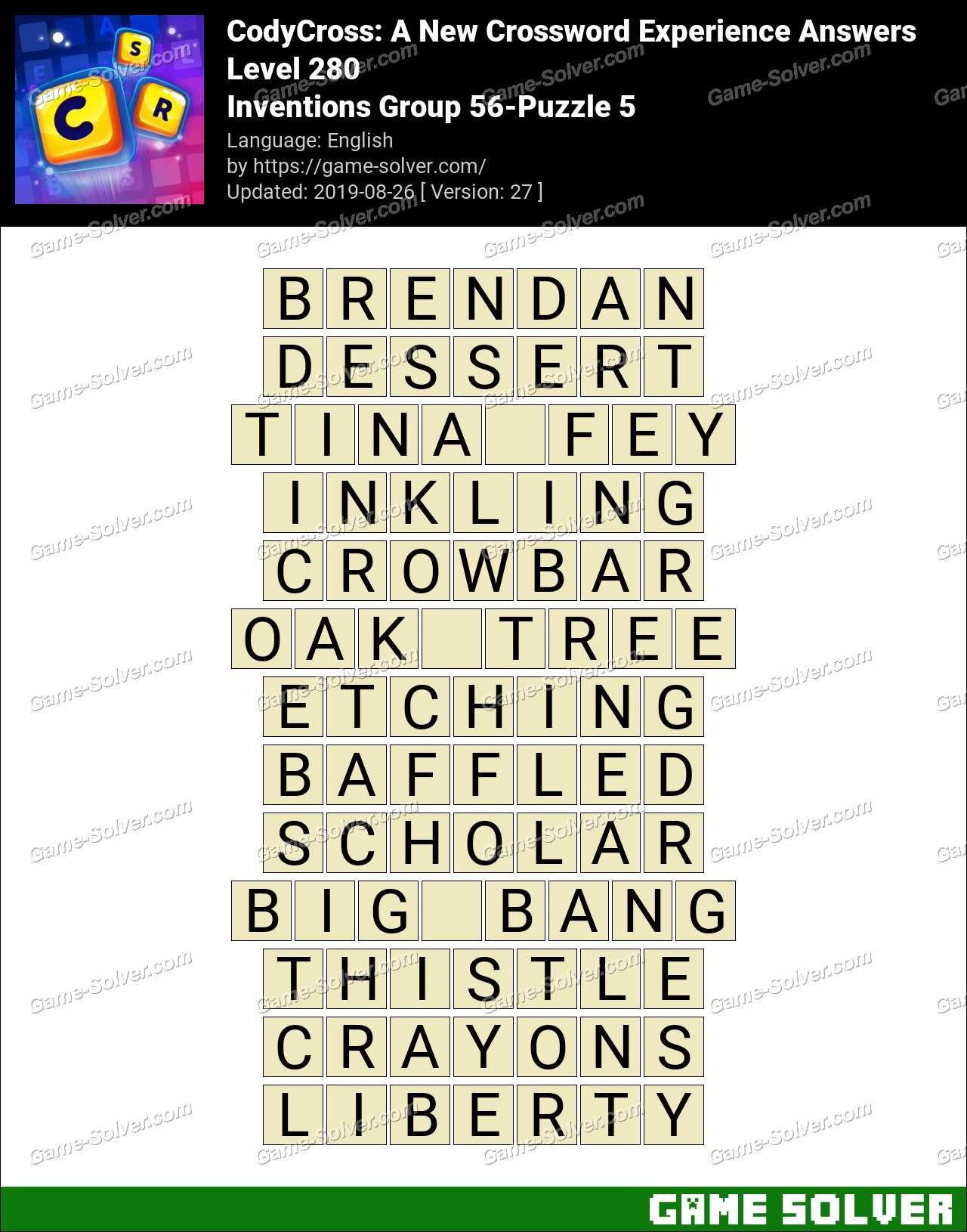 CodyCross Inventions Group 56-Puzzle 5 Answers - Game Solver