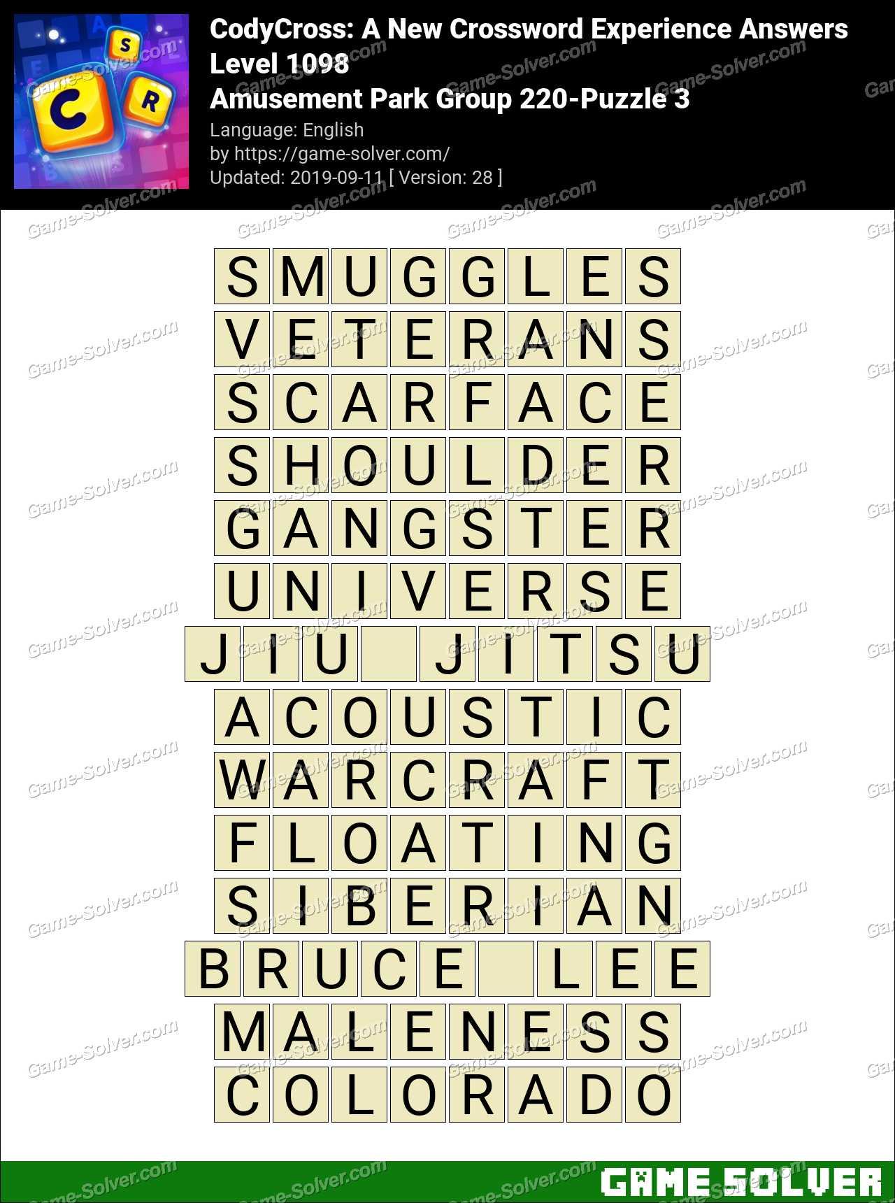 CodyCross Amusement Park Group 220-Puzzle 3 Answers