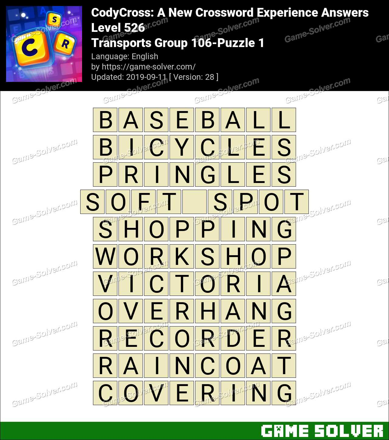 CodyCross Transports Group 106-Puzzle 1 Answers