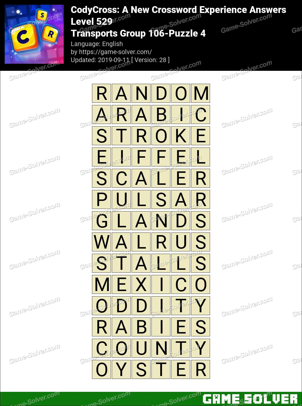 CodyCross Transports Group 106-Puzzle 4 Answers