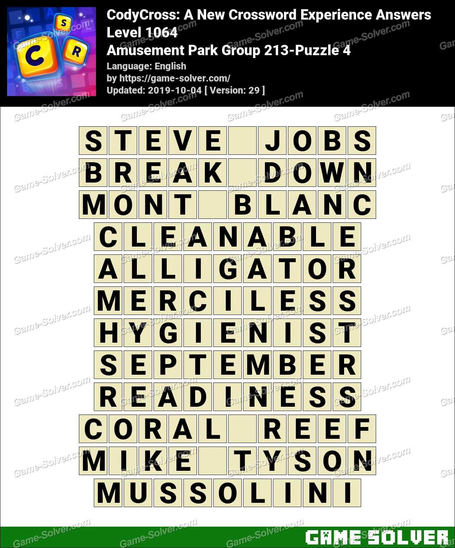 CodyCross Amusement Park Group 213-Puzzle 4 Answers
