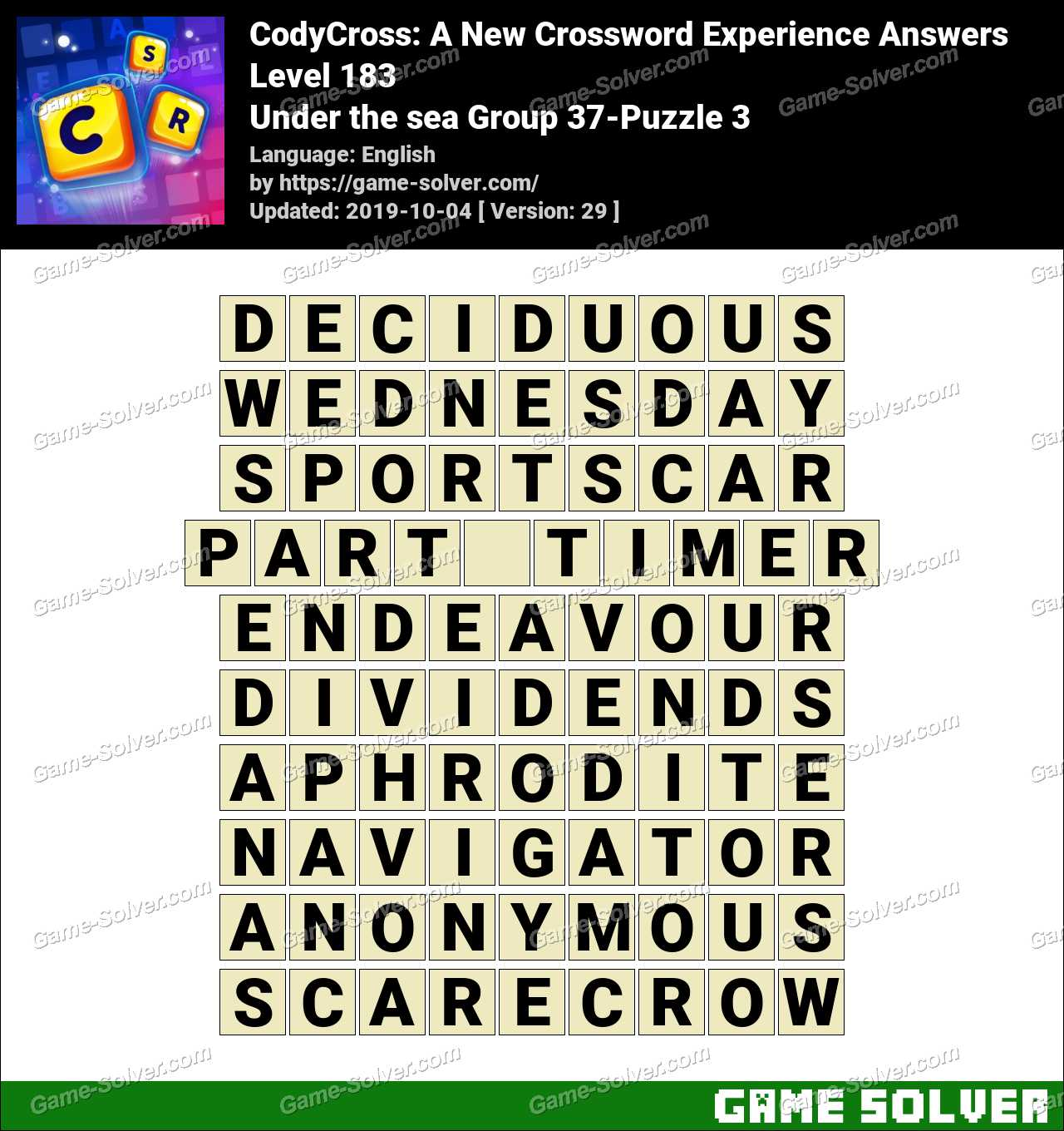 CodyCross Under the sea Group 37-Puzzle 3 Answers