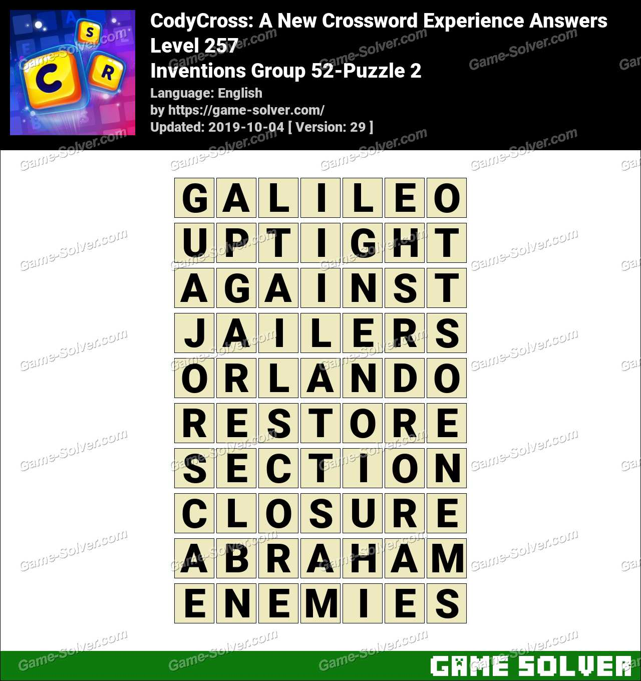CodyCross Inventions Group 52-Puzzle 2 Answers