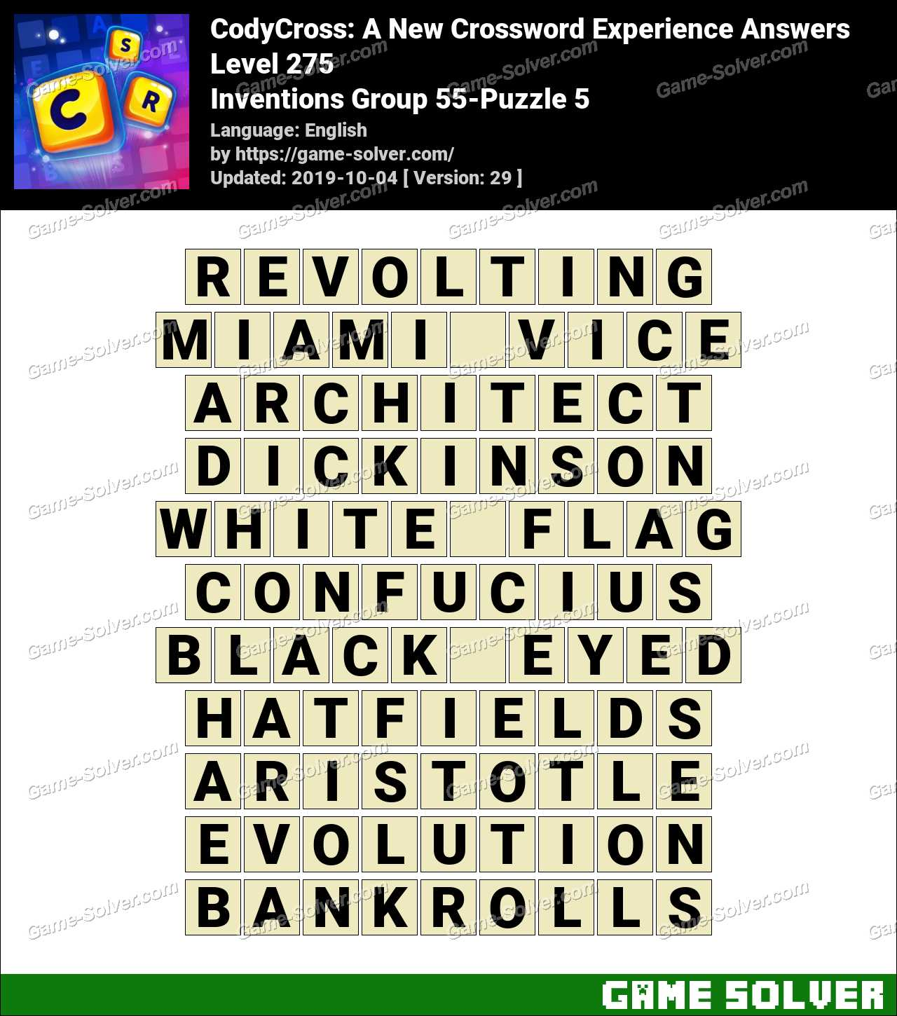 CodyCross Inventions Group 55-Puzzle 5 Answers