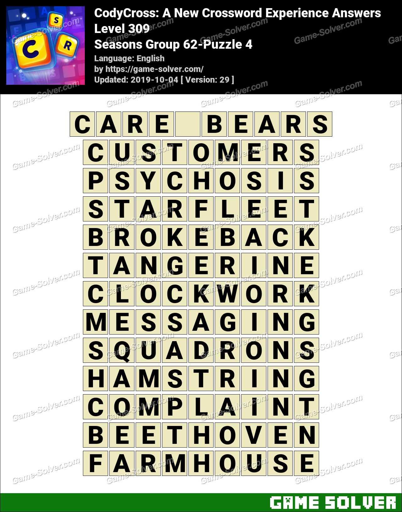 CodyCross Seasons Group 62-Puzzle 4 Answers