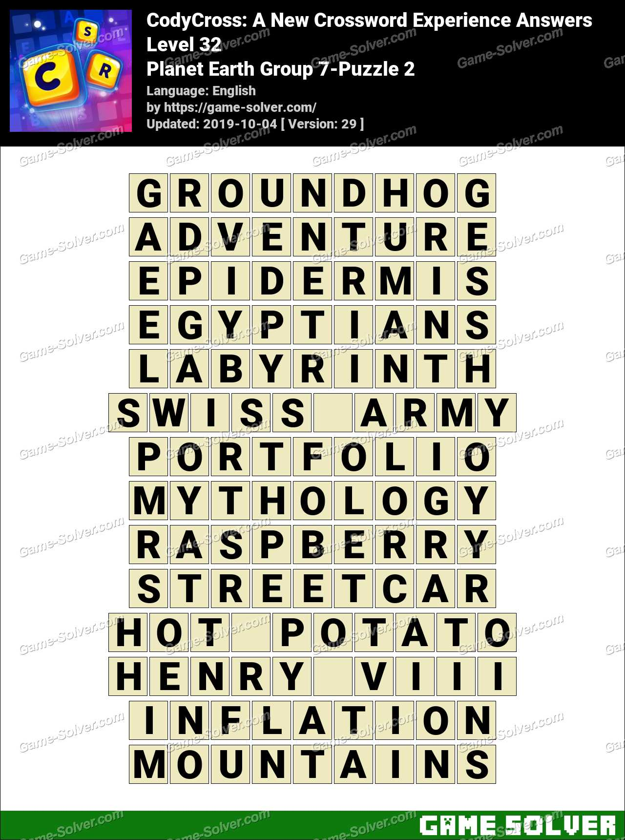 Codycross Planet Earth Group 7 Puzzle 2 Answers Game Solver