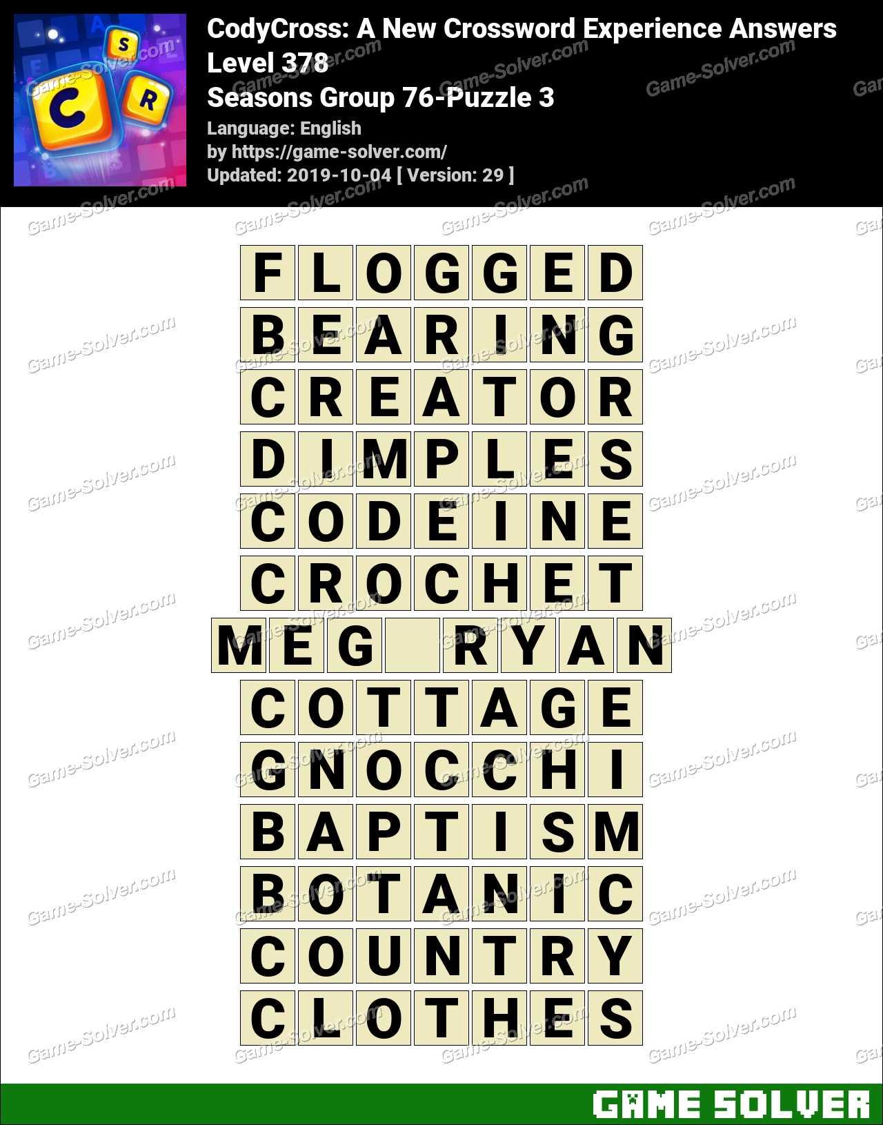 CodyCross Seasons Group 76-Puzzle 3 Answers