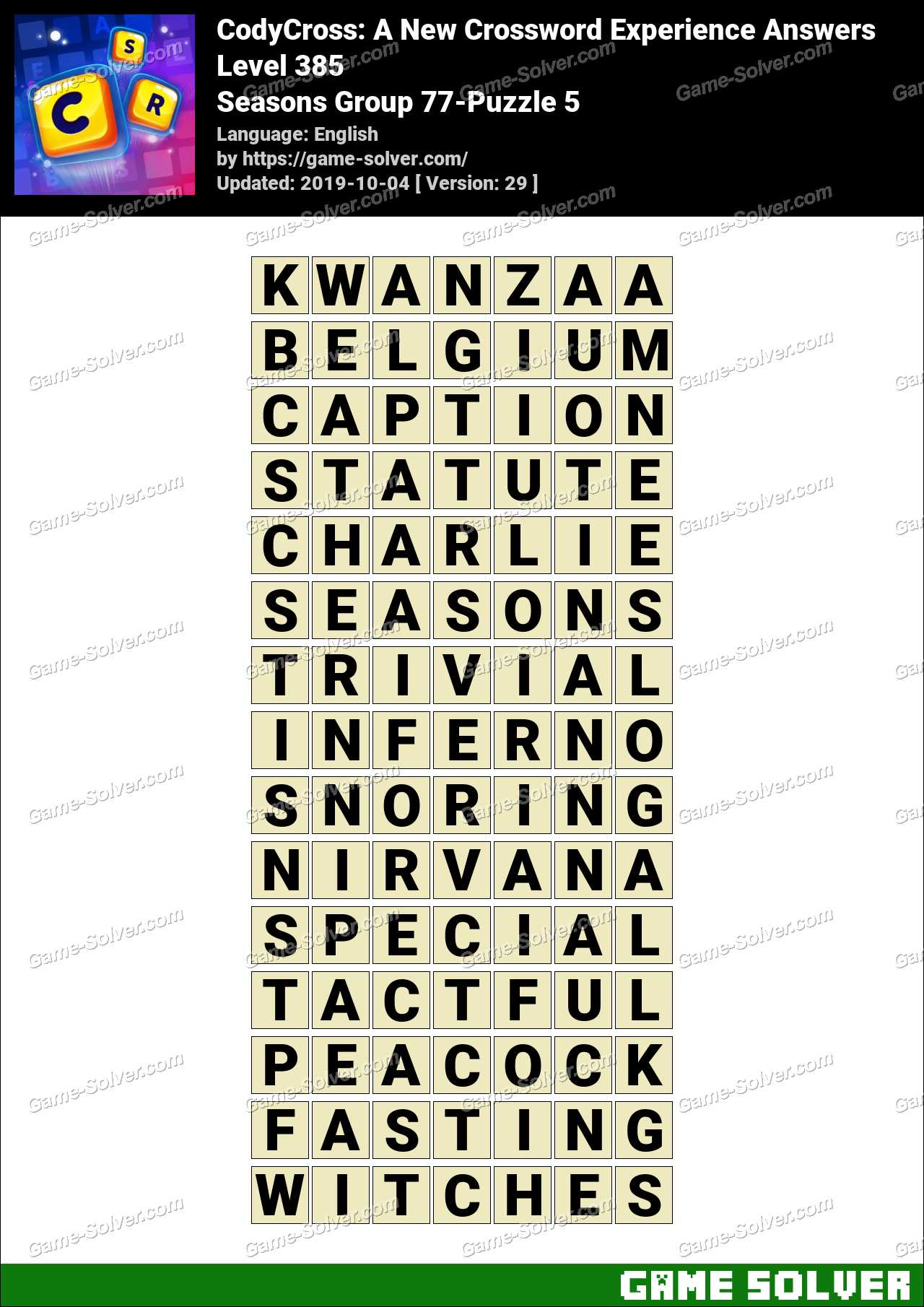 CodyCross Seasons Group 77-Puzzle 5 Answers