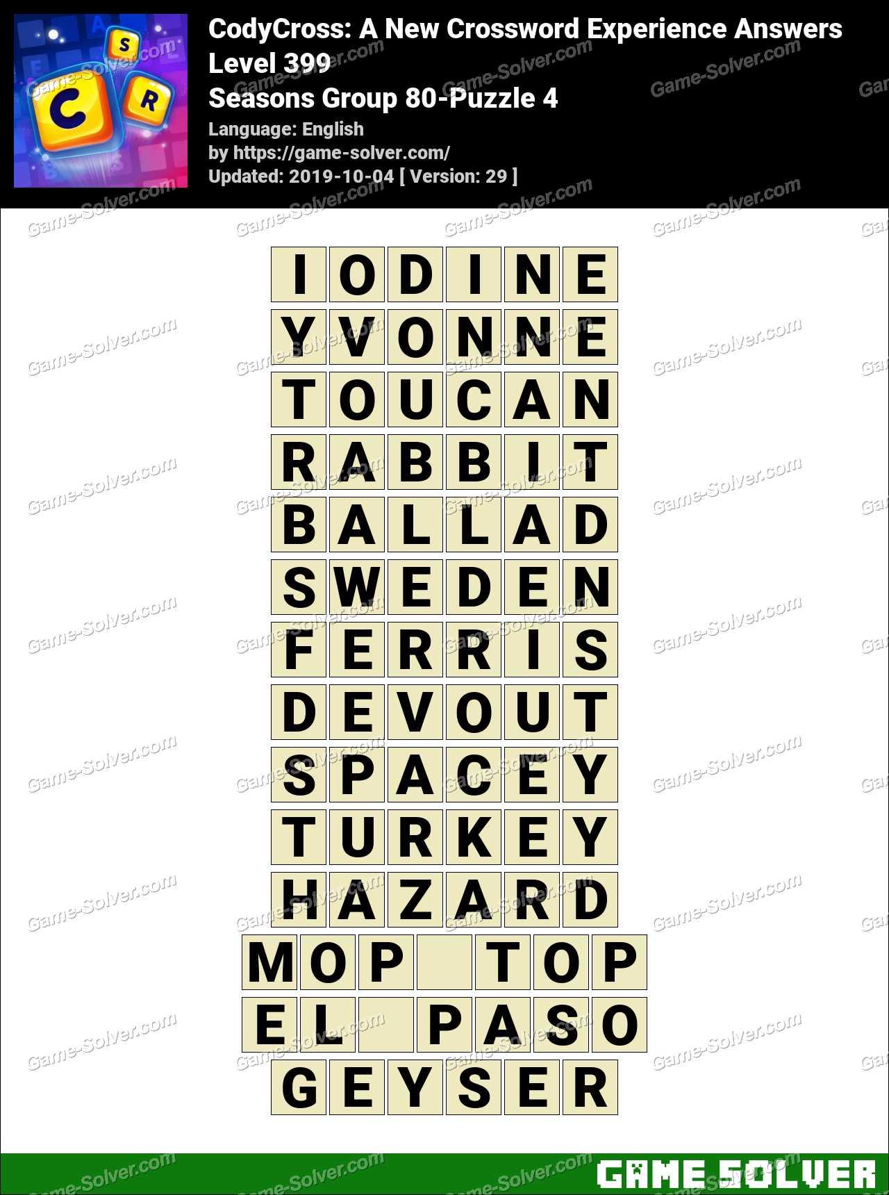 CodyCross Seasons Group 80-Puzzle 4 Answers