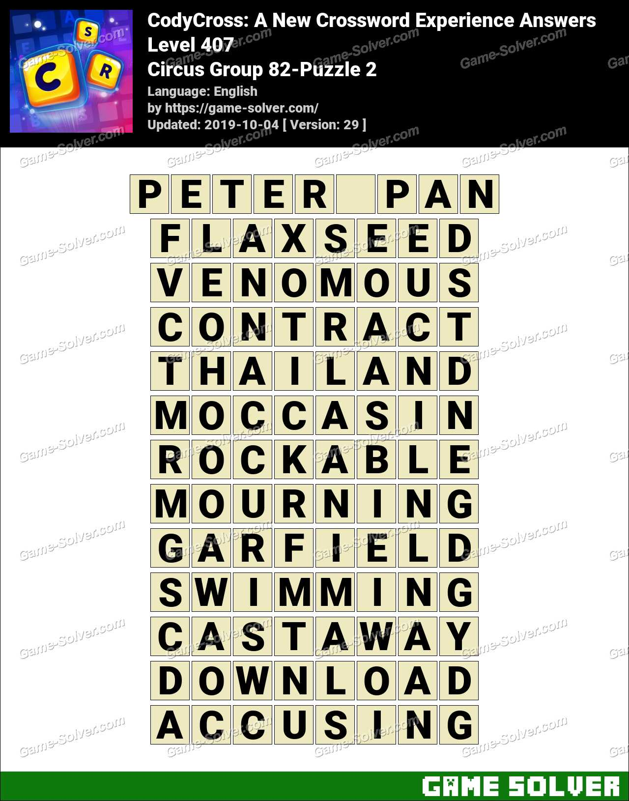 CodyCross Circus Group 82-Puzzle 2 Answers