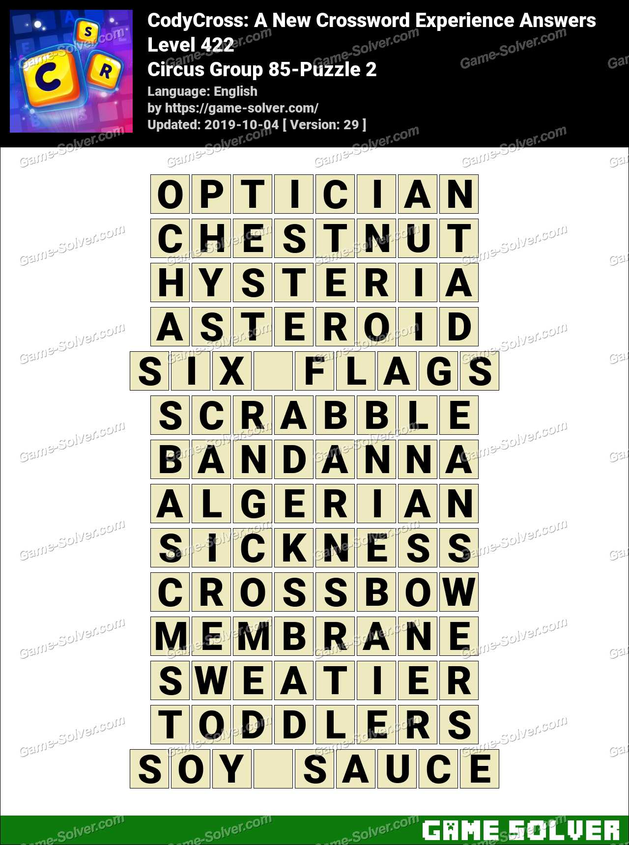 CodyCross Circus Group 85-Puzzle 2 Answers