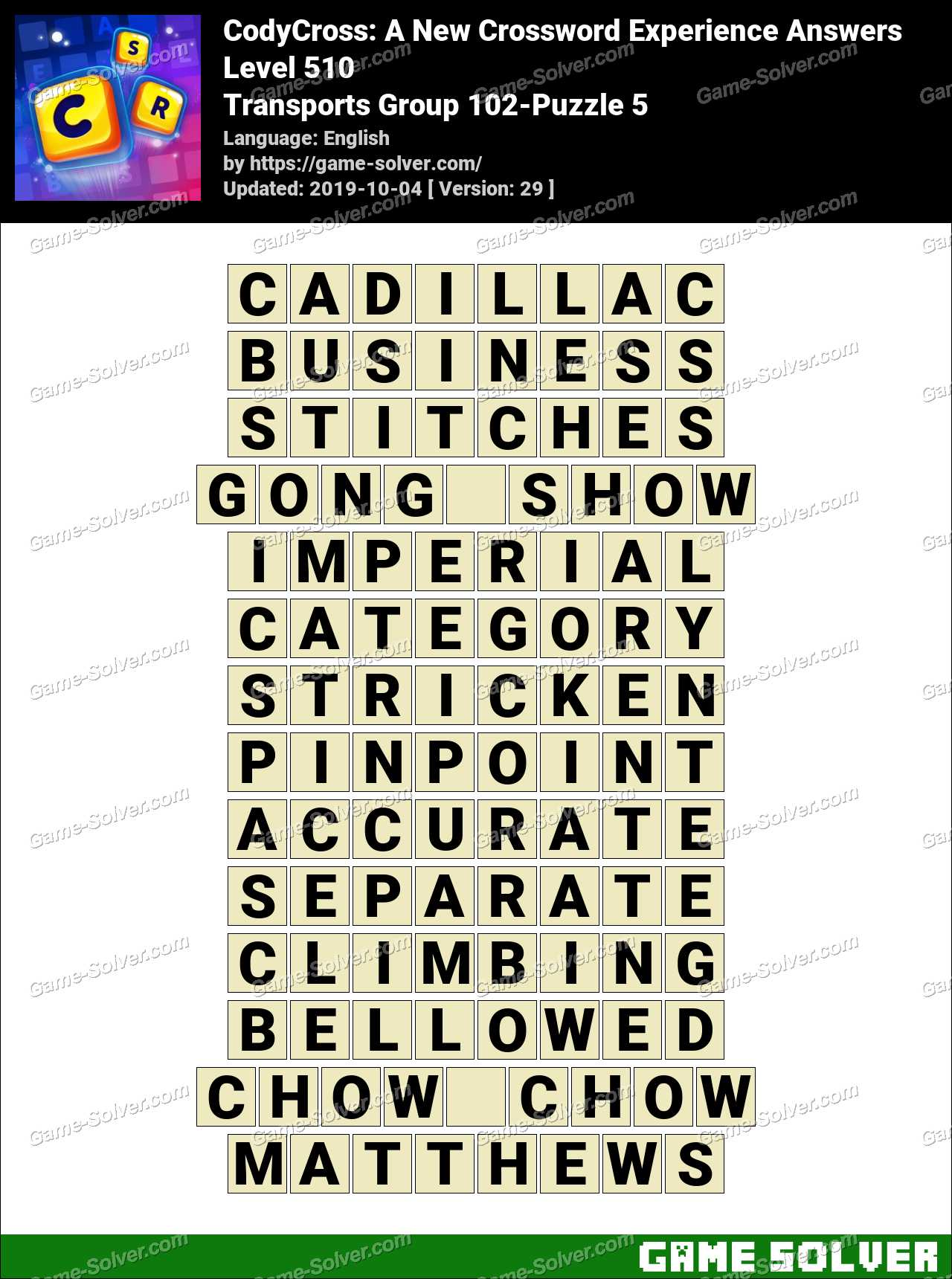 CodyCross Transports Group 102-Puzzle 5 Answers