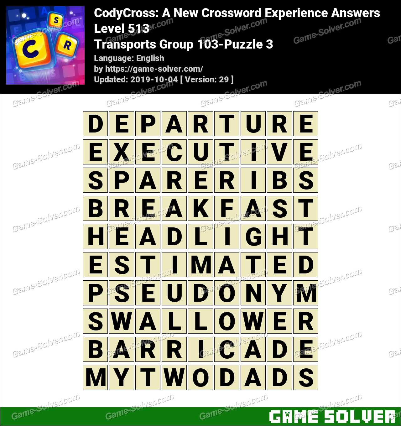 CodyCross Transports Group 103-Puzzle 3 Answers