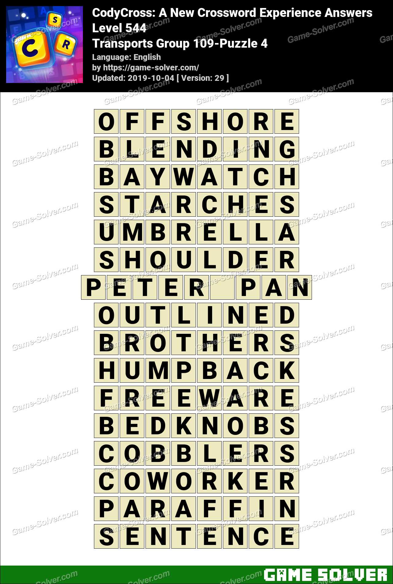 CodyCross Transports Group 109-Puzzle 4 Answers