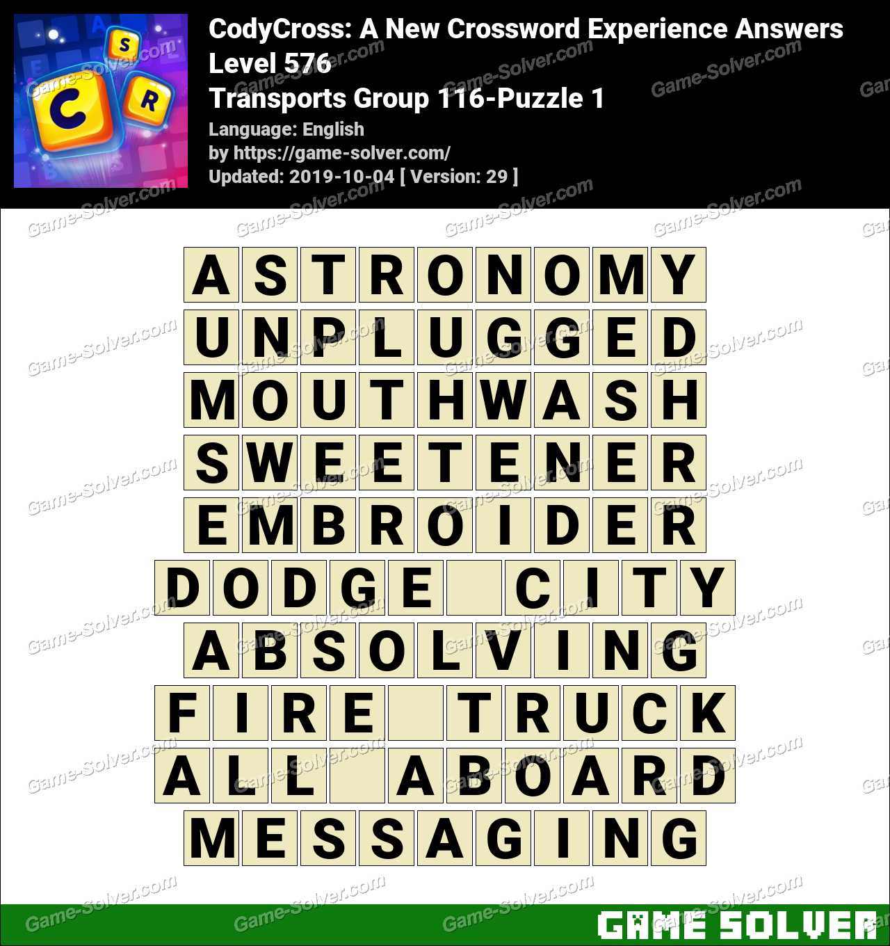 CodyCross Transports Group 116-Puzzle 1 Answers