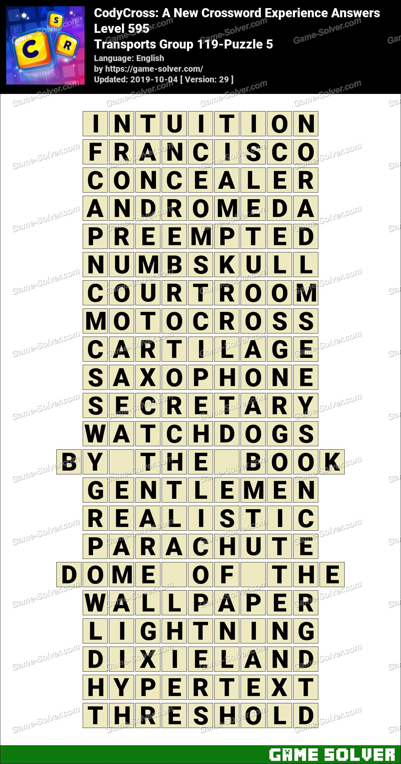 CodyCross Transports Group 119-Puzzle 5 Answers