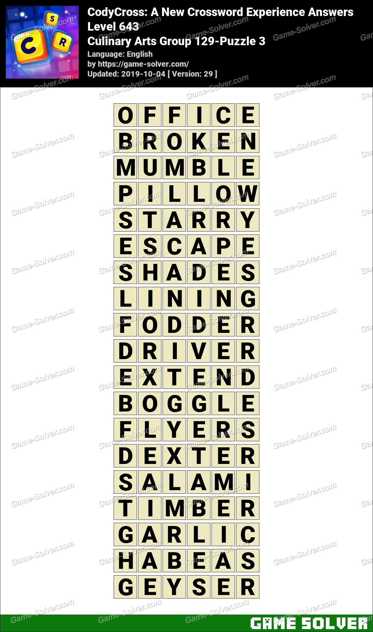 CodyCross Culinary Arts Group 129-Puzzle 3 Answers