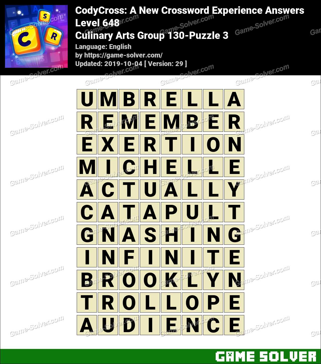 CodyCross Culinary Arts Group 130-Puzzle 3 Answers