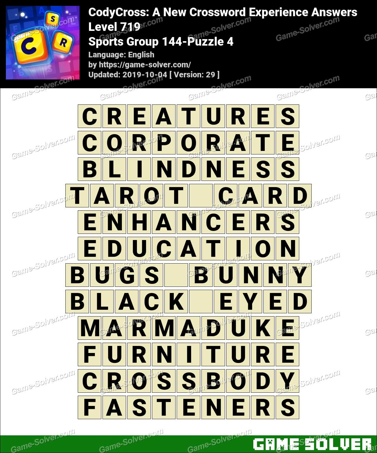 CodyCross Sports Group 144-Puzzle 4 Answers