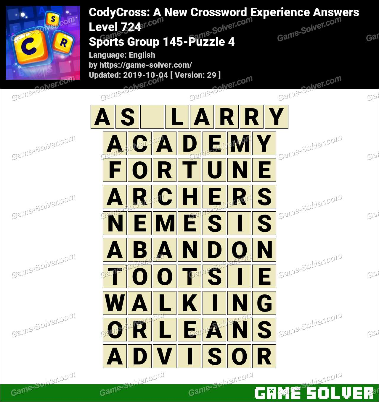 CodyCross Sports Group 145-Puzzle 4 Answers