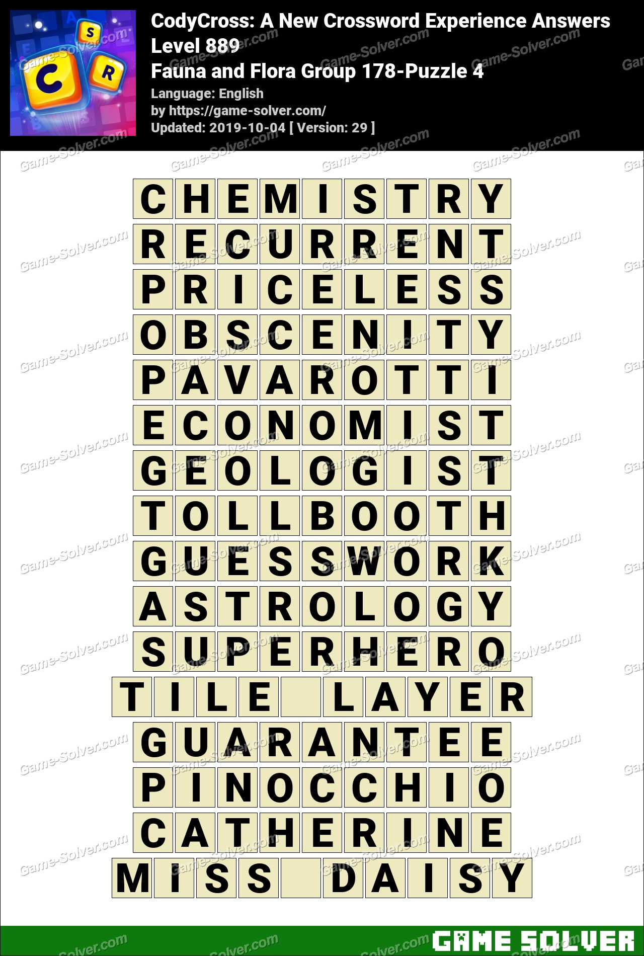 CodyCross Fauna and Flora Group 178-Puzzle 4 Answers