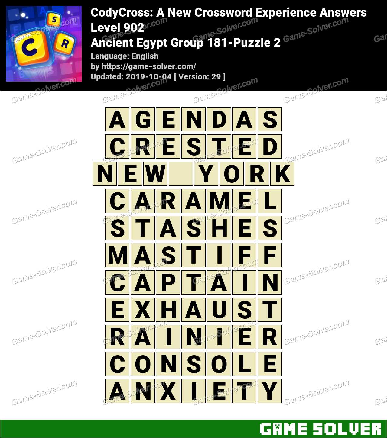 CodyCross Ancient Egypt Group 181-Puzzle 2 Answers