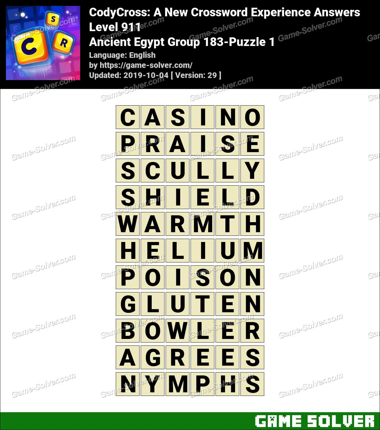 CodyCross Ancient Egypt Group 183-Puzzle 1 Answers