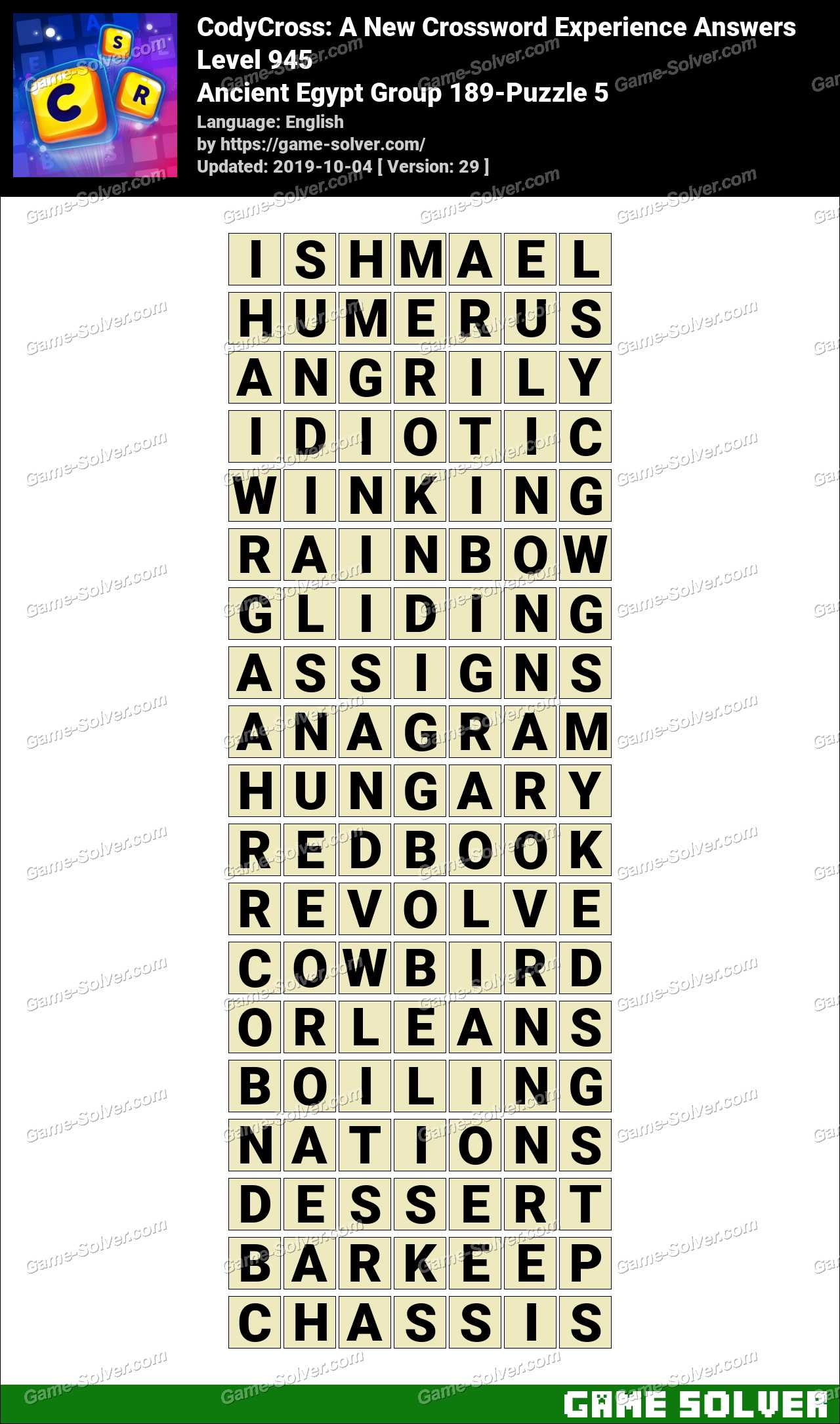 CodyCross Ancient Egypt Group 189-Puzzle 5 Answers