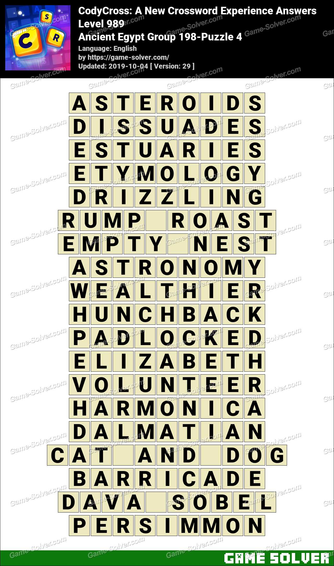 CodyCross Ancient Egypt Group 198-Puzzle 4 Answers
