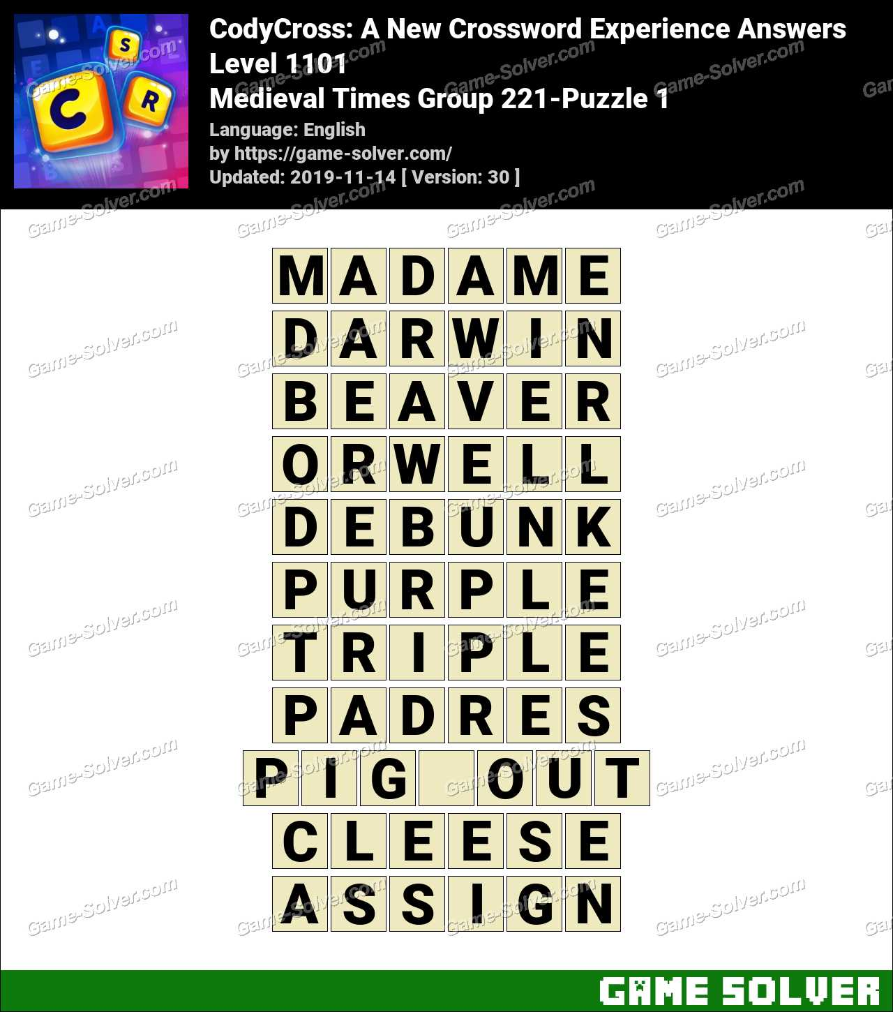 CodyCross Medieval Times Group 221-Puzzle 1 Answers