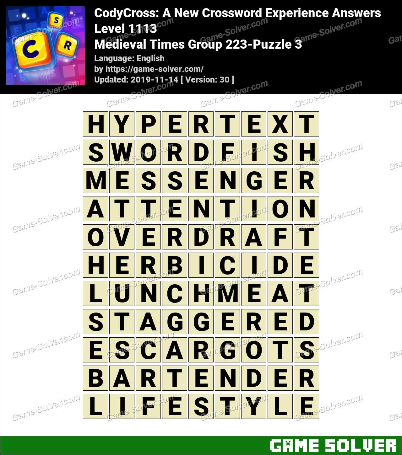 CodyCross Medieval Times Group 223-Puzzle 3 Answers