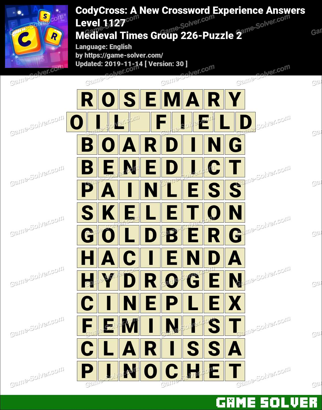 CodyCross Medieval Times Group 226-Puzzle 2 Answers