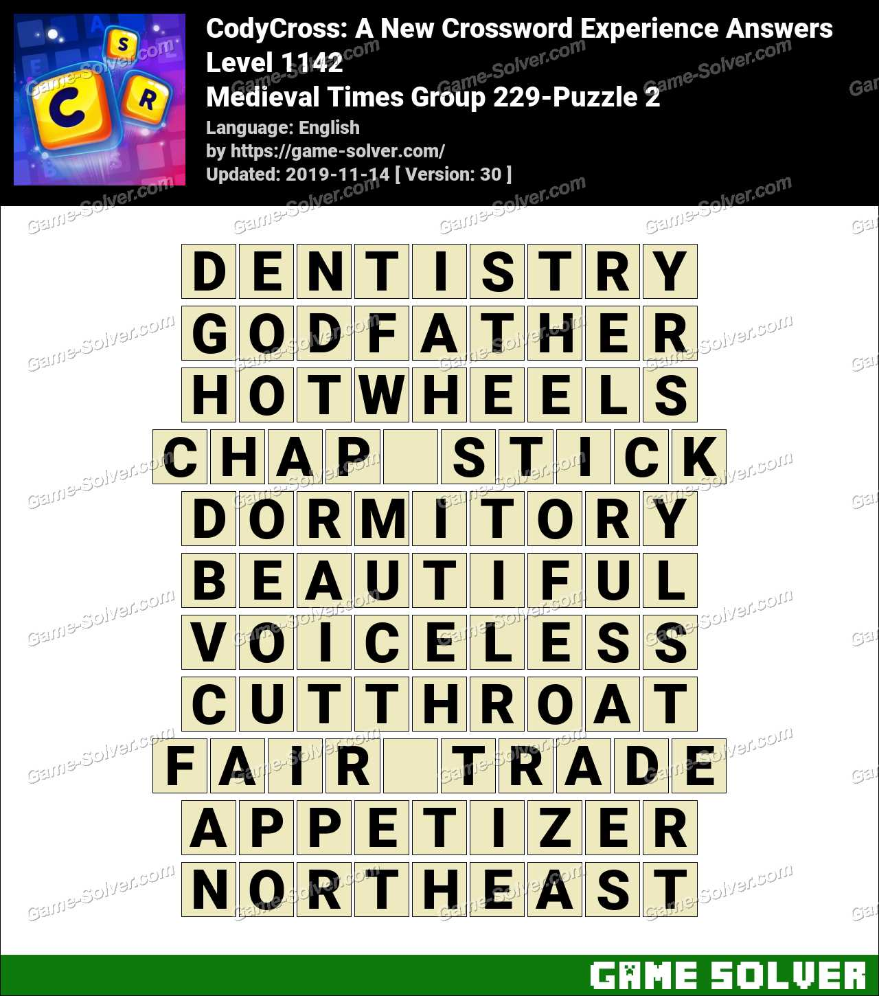 CodyCross Medieval Times Group 229-Puzzle 2 Answers