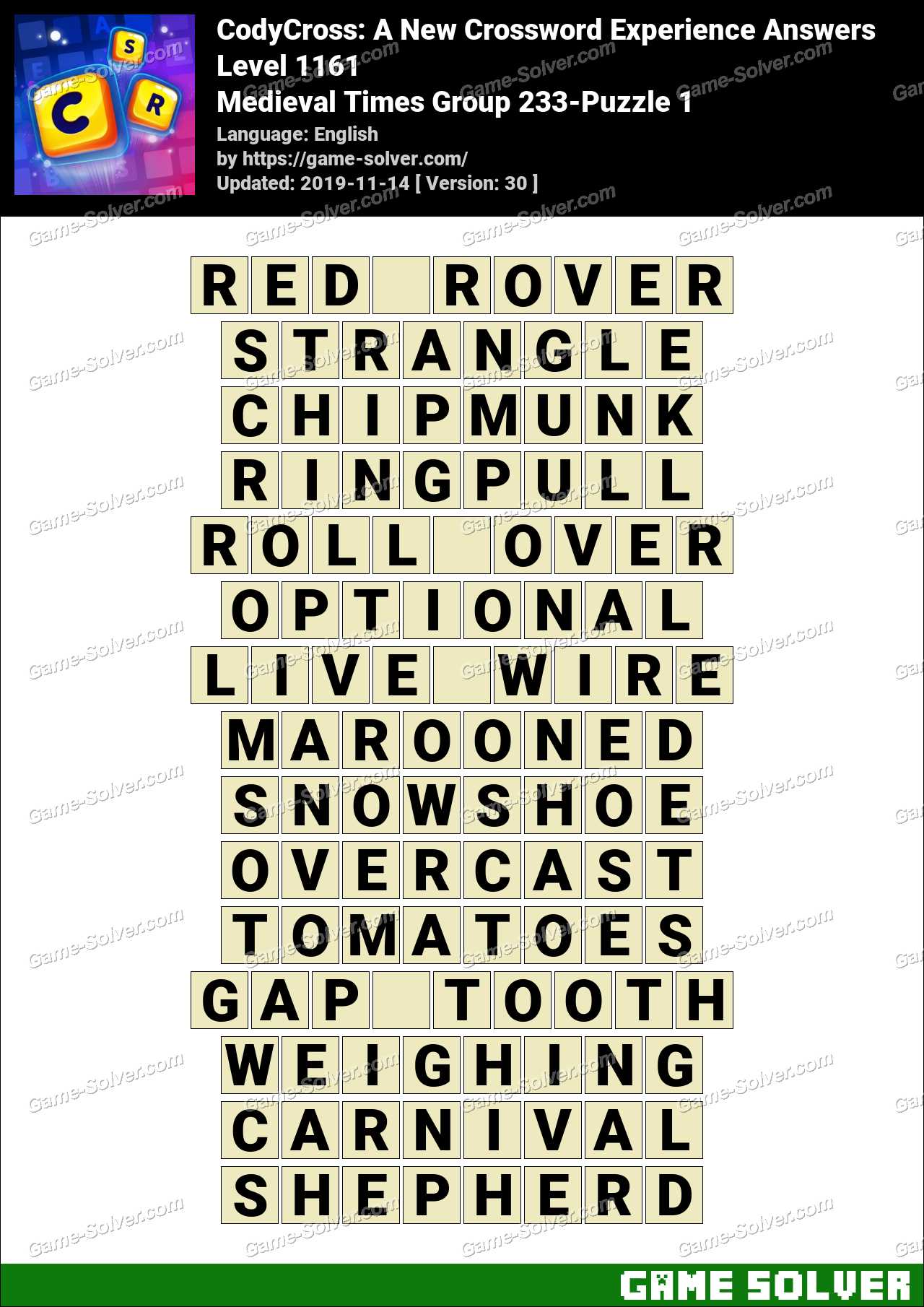 CodyCross Medieval Times Group 233-Puzzle 1 Answers