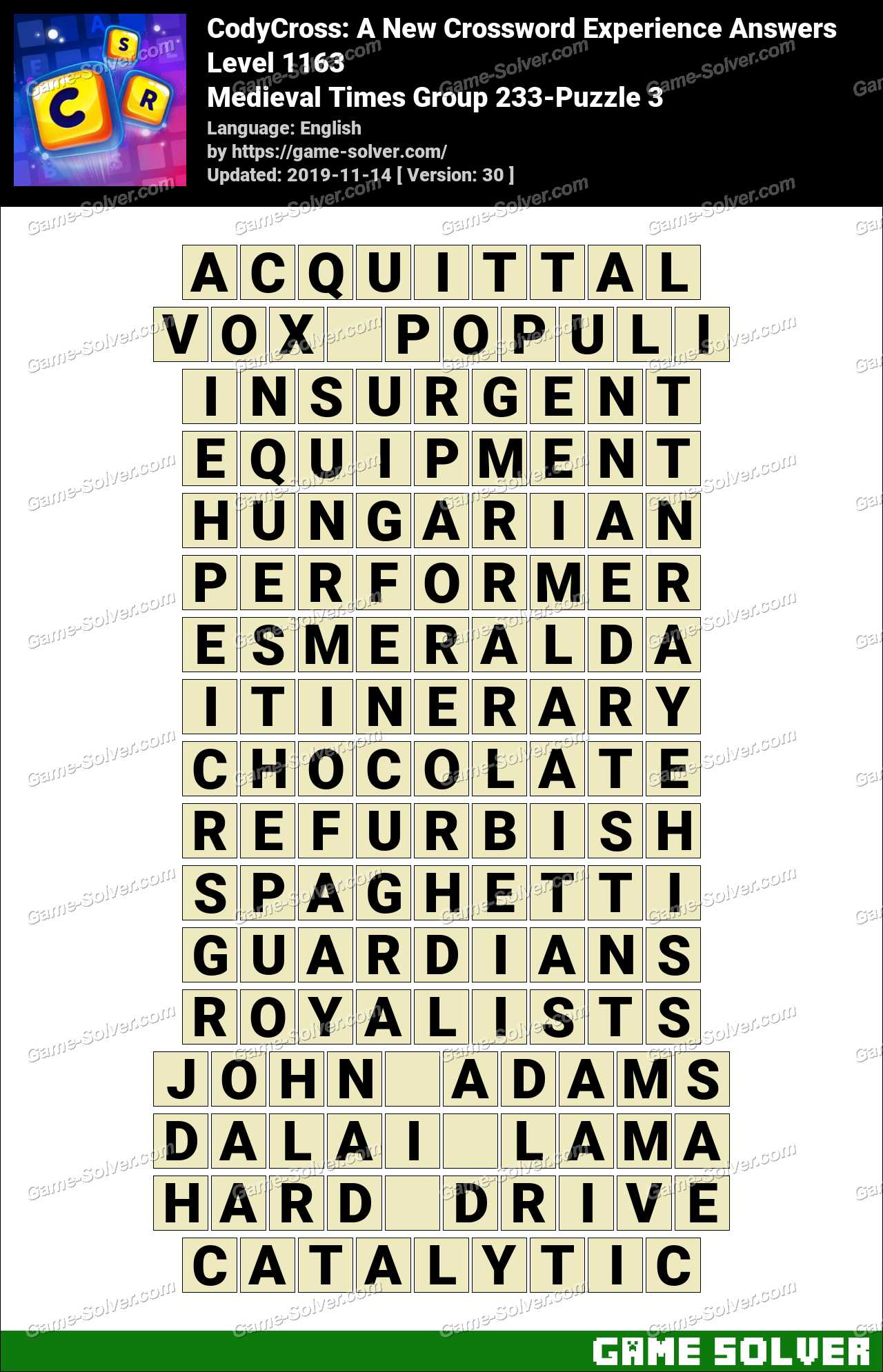 CodyCross Medieval Times Group 233-Puzzle 3 Answers
