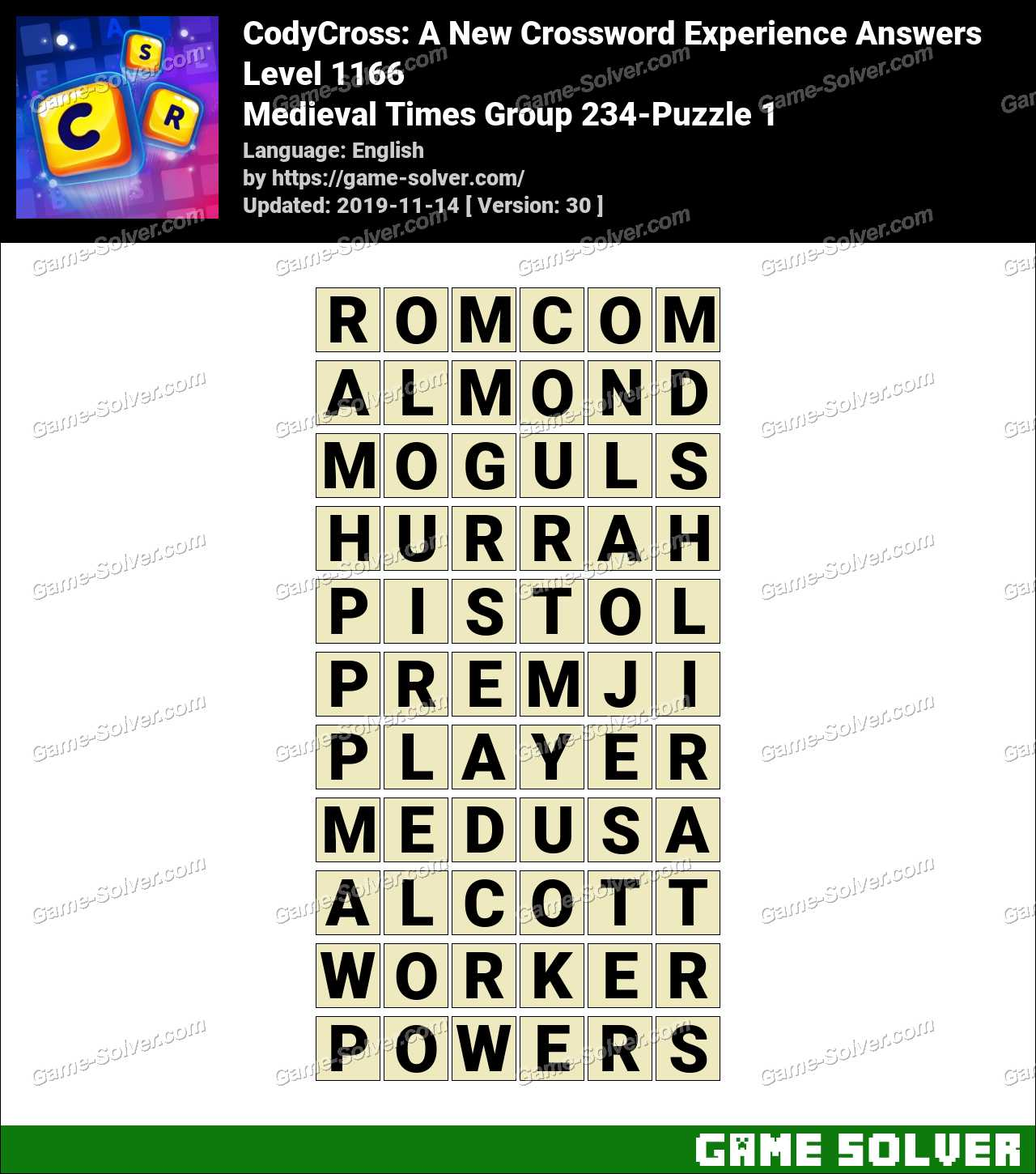CodyCross Medieval Times Group 234-Puzzle 1 Answers