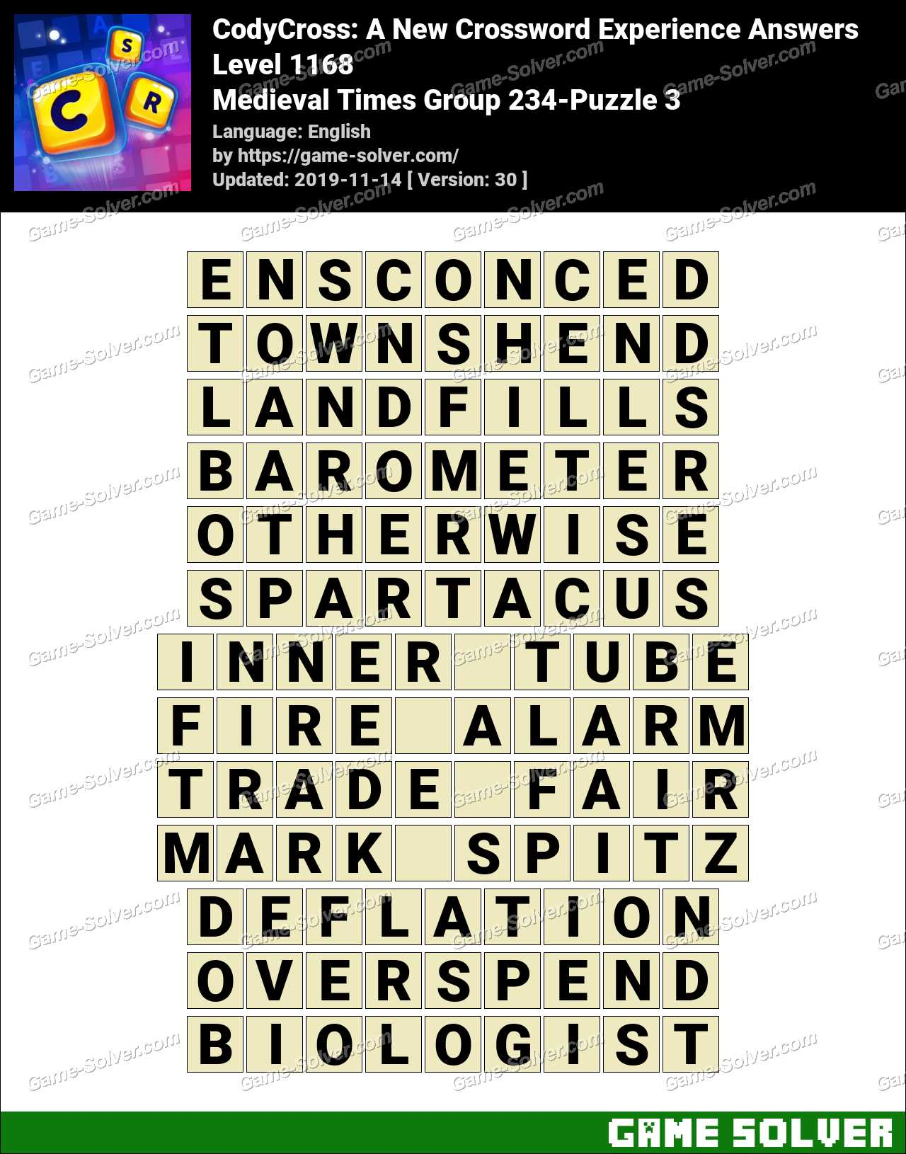 CodyCross Medieval Times Group 234-Puzzle 3 Answers