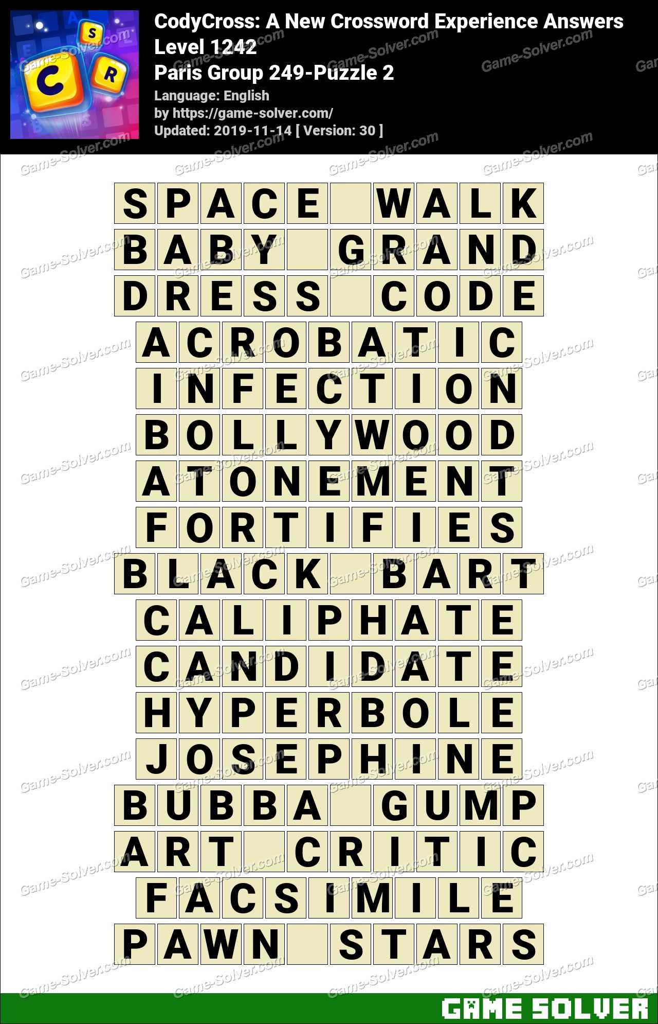 CodyCross Paris Group 249-Puzzle 2 Answers