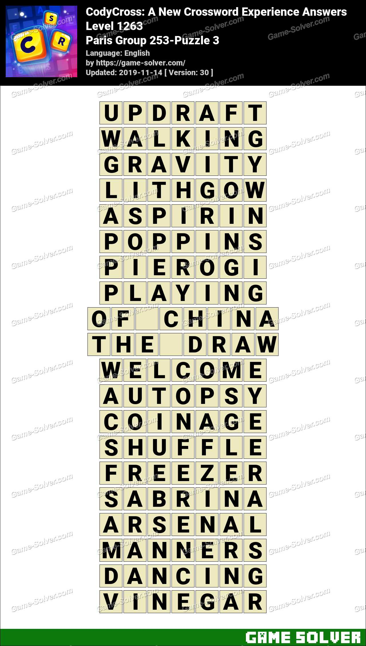 CodyCross Paris Group 253-Puzzle 3 Answers