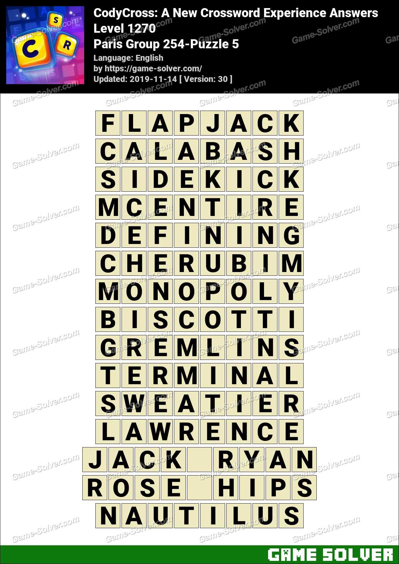 CodyCross Paris Group 254-Puzzle 5 Answers