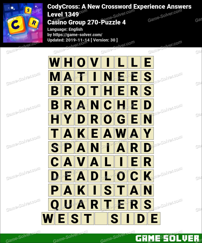 CodyCross Casino Group 270-Puzzle 4 Answers