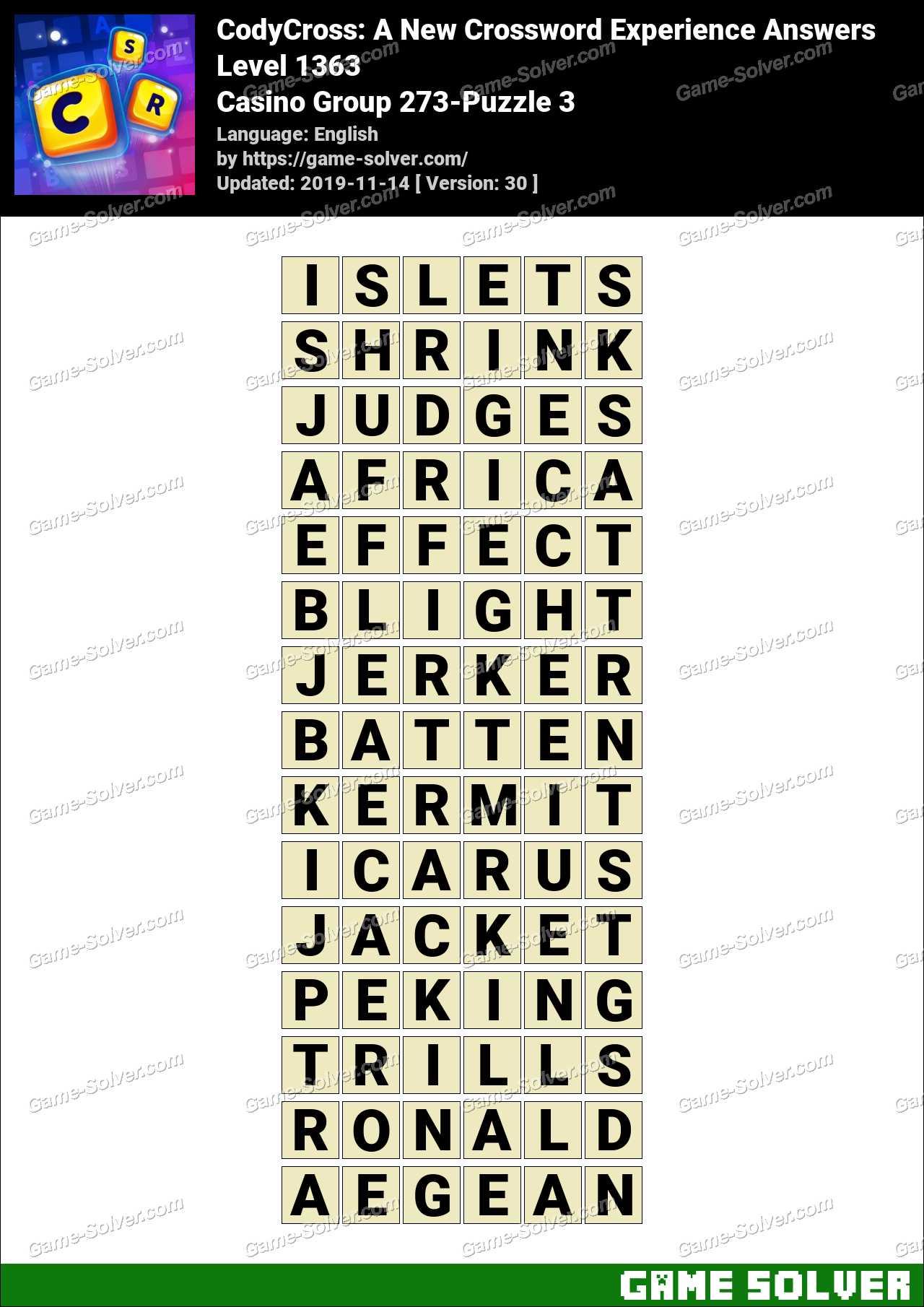 CodyCross Casino Group 273-Puzzle 3 Answers