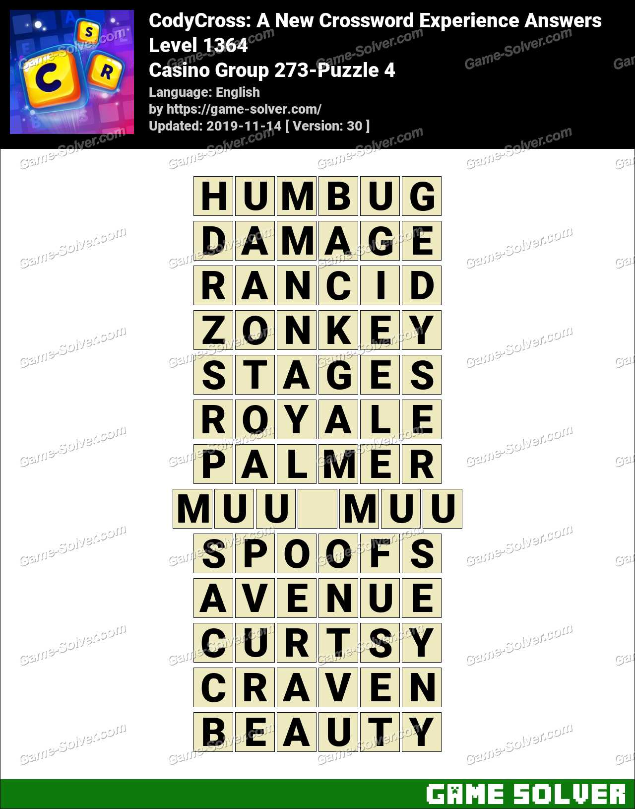 CodyCross Casino Group 273-Puzzle 4 Answers
